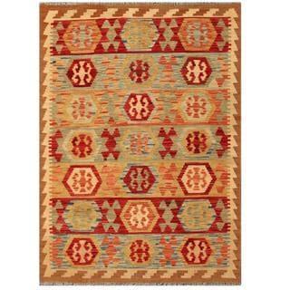 Herat Oriental Afghan Hand-woven Tribal Kilim Red/ Beige Wool Rug (4'3 x 5'10)