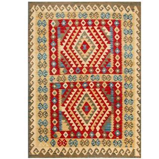 Herat Oriental Afghan Hand-woven Tribal Kilim Red/ Beige Wool Rug (4'2 x 5'10)