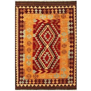 Herat Oriental Afghan Hand-woven Tribal Kilim Maroon/ Apricot Wool Rug (4'1 x 5'11)
