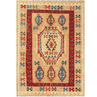 Herat Oriental Afghan Hand-woven Tribal Kilim Beige/ Red Wool Rug (4'5 x 6')