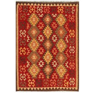 Herat Oriental Afghan Hand-woven Tribal Kilim Red/ Brown Wool Rug (4'3 x 6')