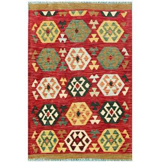 Herat Oriental Afghan Hand-woven Tribal Kilim Maroon/ Ivory Wool Rug (3'4 x 5')