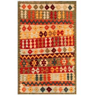 Herat Oriental Afghan Hand-woven Tribal Kilim Red/ Apricot Wool Rug (3' x 4'9)