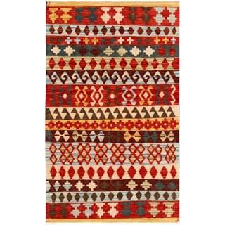 Herat Oriental Afghan Hand-woven Tribal Kilim Red/ Ivory Wool Rug (2'11 x 4'11)