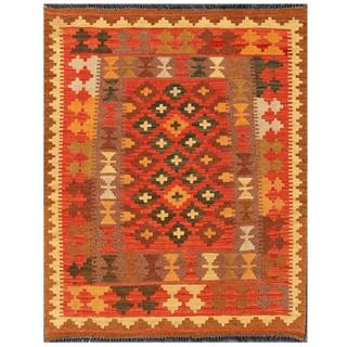 Herat Oriental Afghan Hand-woven Tribal Kilim Red/ Brown Wool Rug (3'1 x 3'10)