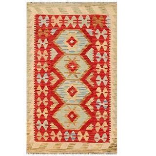 Herat Oriental Afghan Hand-woven Tribal Kilim Red/ Beige Wool Rug (3' x 4'11)