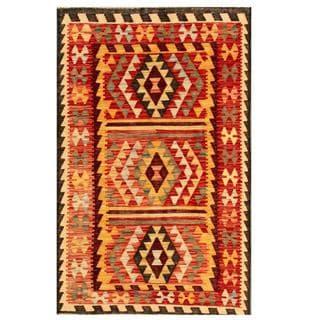 Herat Oriental Afghan Hand-woven Tribal Kilim Red/ Gold Wool Rug (3'1 x 4'11)