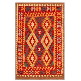Herat Oriental Afghan Hand-woven Tribal Kilim Red/ Green Wool Rug (3'4 x 5')