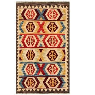 Herat Oriental Afghan Hand-woven Tribal Kilim Red/ Tan Wool Rug (3'1 x 5'3)