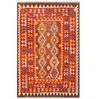 Herat Oriental Afghan Hand-woven Tribal Kilim Red/ Tan Wool Rug (3'5 x 5')