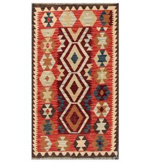 Herat Oriental Afghan Hand-woven Tribal Kilim Burgundy/ Red Wool Rug (2'10 x 4'10)