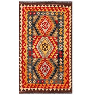 Herat Oriental Afghan Hand-woven Tribal Kilim Red/ Gold Wool Rug (3' x 5'2)