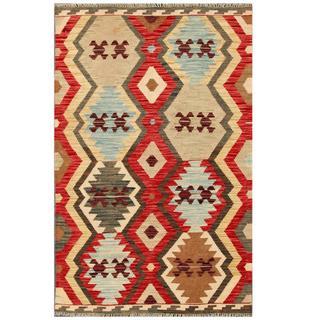 Herat Oriental Afghan Hand-woven Tribal Kilim Red/ Beige Wool Rug (3'3 x 5'1)