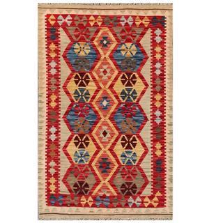 Herat Oriental Afghan Hand-woven Tribal Kilim Red/ Light Green Wool Rug (3' x 4'10)