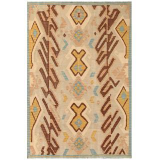 Herat Oriental Afghan Hand-woven Tribal Kilim Beige/ Gold Wool Rug (5'7 x 8')