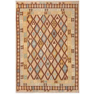 Herat Oriental Afghan Hand-woven Tribal Kilim Brown/ Light Blue Wool Rug (6'7 x 9'7)