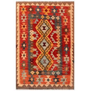 Herat Oriental Afghan Hand-woven Tribal Kilim Red/ Beige Wool Rug (3'2 x 4'10)