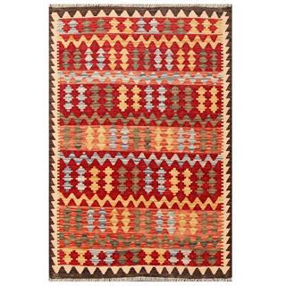 Herat Oriental Afghan Hand-woven Tribal Kilim Red/ Salmon Wool Rug (3'3 x 4'9)