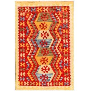 Herat Oriental Afghan Hand-woven Tribal Kilim Red/ Gold Wool Rug (3'4 x 4'11)