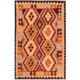 Herat Oriental Afghan Hand-woven Tribal Kilim Red/ Beige Wool Rug (3'3 x 4'11)