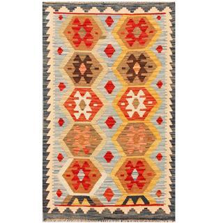 Herat Oriental Afghan Hand-woven Tribal Kilim Light Blue/ Brown Wool Rug (2'10 x 4'9)