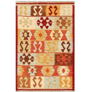 Herat Oriental Afghan Hand-woven Tribal Kilim Salmon/ Beige Wool Rug (3'3 x 4'10)