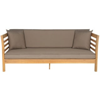 Safavieh Outdoor Living Malibu Brown Acacia Wood Taupe Cushion Daybed