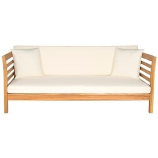 Safavieh Outdoor Living Malibu Ash Grey Acacia Wood Beige Cushion Daybed