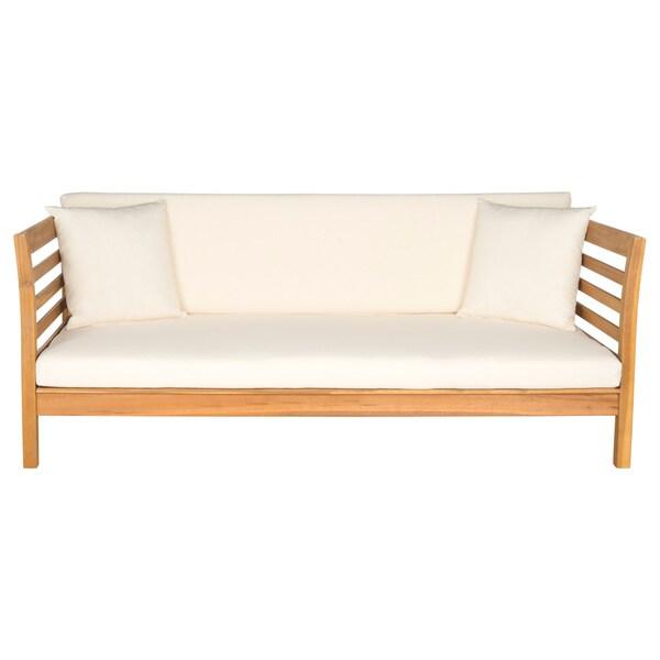 Mattress Pasadena Ca Safavieh Outdoor Living Malibu Ash Grey Acacia Wood Beige Cushion ...