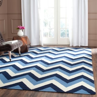 Safavieh Hand-woven Dhurries Navy/ Light Blue Wool Rug (8' x 10')