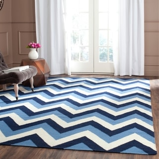 Safavieh Hand-woven Reversible Dhurries Navy/ Light Blue Wool Rug (8' x 10')