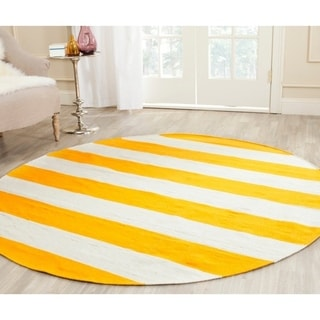 Safavieh Hand-woven Montauk Yellow/ White Cotton Rug (4' Round)