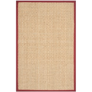Safavieh Casual Natural Fiber Natural and Red Border Seagrass Rug (2' x 3')