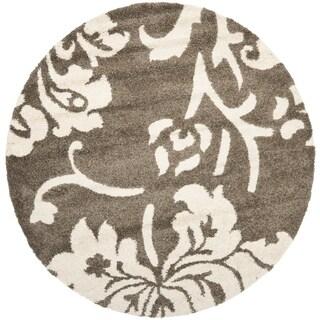 Safavieh Shag Smoke/ Beige Rug (4' Round)