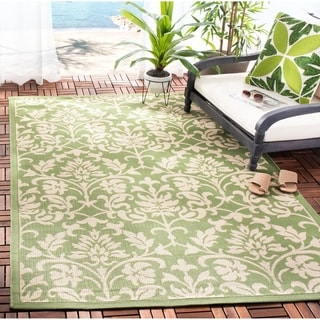 Safavieh Indoor/ Outdoor Courtyard Olive/ Natural Rug (9' x 12')