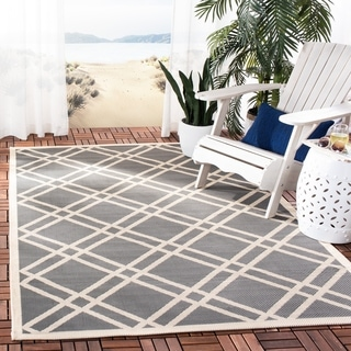 Safavieh Indoor/ Outdoor Courtyard Anthracite/ Beige Rug (9' x 12')