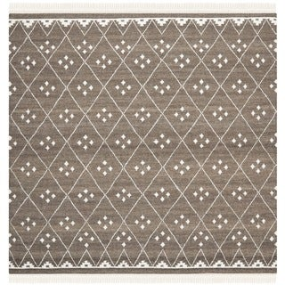 Safavieh Hand-Woven Natural Kilim Brown/ Ivory Wool Rug (5' Square)