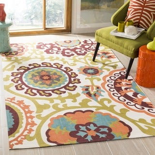 Safavieh Handmade Cedar Brook Ivory/ Orange Cotton Rug (9' x 12')