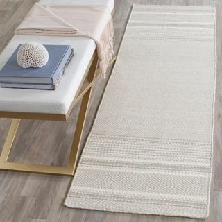 Safavieh Hand-Woven Kilim Grey/ Ivory Wool Rug (2'3 x 9')