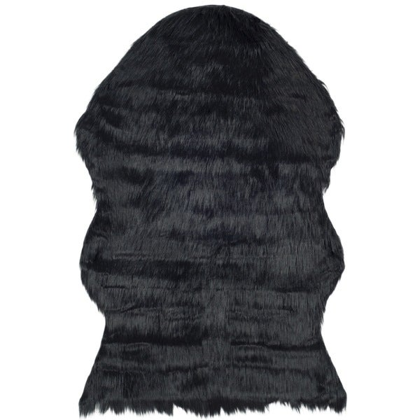 Safavieh Hand-Tufted Faux Sheep Skin Black Acrylic Rug (4' x 6')