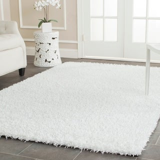 Safavieh Handmade Shag White Polyester Rug (9' x 12')