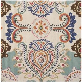 Safavieh Hand-Tufted Bella Ivory/ Blue Wool Rug (7' Square)