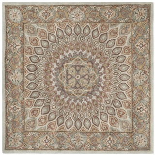 Safavieh Hand-Tufted Heritage Blue/ Grey Wool Rug (7' Square)
