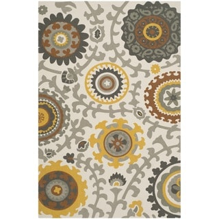 Safavieh Handmade Cedar Brook Citron/ Ivory Cotton Rug (6' x 9')