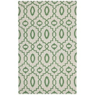 Safavieh Hand-woven Dhurries Ivory/ Green Wool Rug (6' x 9')