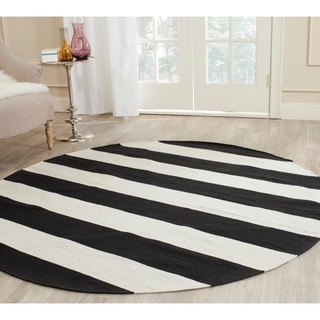 Safavieh Hand-woven Montauk Black/ White Cotton Rug (8' Round)