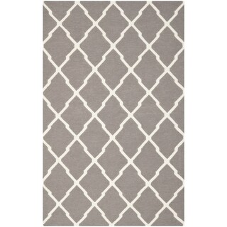 Safavieh Hand-woven Reversible Dhurries Dark Grey/ Ivory Wool Rug (10' x 14')