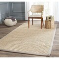 Safavieh Casual Natural Fiber Natural and Grey Border Seagrass Rug (8' Square)