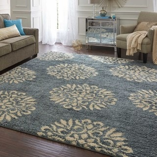 Mohawk Home Exploded Medallions Bay Blue Woven Rug (8' x 10')