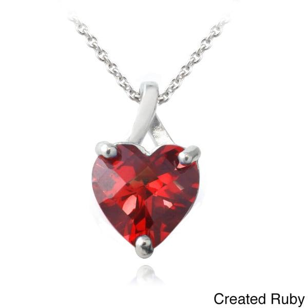 Glitzy Rocks Sterling Silver Created Ruby or Sapphire Briolette-Cut Heart Pendant Necklace